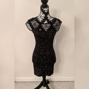 NWT Free People black and gold fitted dress